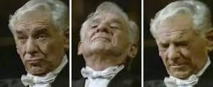 Bernstein directs only with his face.