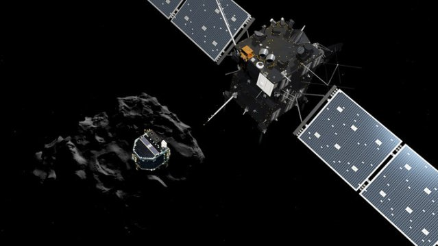 Artist impression showing Philae separating from Rosetta and descending to the surface of comet 67P/Churyumov-Gerasimenko.