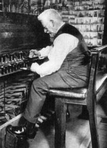 Jef Denyn playing the carillon in the Saint Rombouts tower, Mechelen, ca. 1920 (boximagecaption)