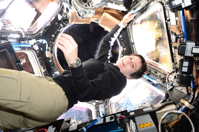 Samantha Cristoforetti in the Cupola observatory module of the International Space Station. One way for her to return to her country since this module was manufactured in Italy by Thales Alenia Space!