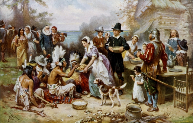 Painting by Jean Leon Gerome Ferris of 1621 feast at Plymouth, courtesy Wiki Commons.