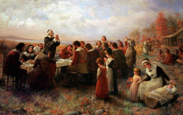 """""""The first Thanksgiving at Plymouth"""" by Jennie A. Brownscombe (1850-1936). Painted 1914"""