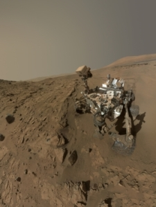 NASA's Curiosity rover, seen here in a self-portrait from spring 2014, has found conclusive evidence of methane in the atmosphere of Mars. The gas is a potential sign of alien life, though it could also be produced through abiotic mechanisms.  Credit: NASA/JPL-Caltech/MSSS