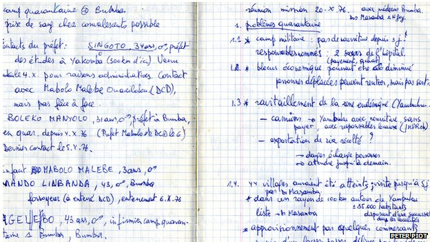Notebook Dr. Peter Piot 1976.