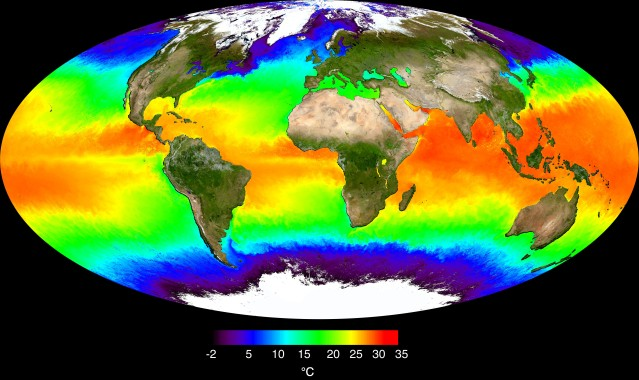 Surfance Reflectance and Ocean Temperature by NASA