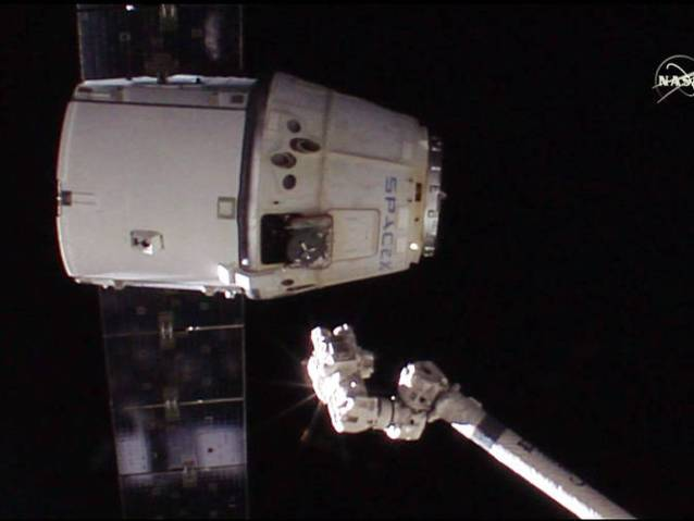 SpaceX's Dragon spacecraft departed the space station with 3,700 pounds of cargo Feb. 10, 2015, for a 7:44 p.m. EST splashdown in the Pacific, 259 miles southwest of Long Beach, California. Image Credit: NASA
