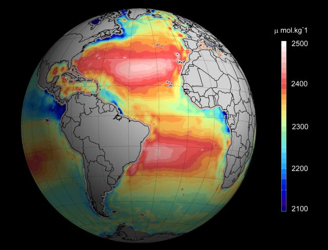 This image depicts total ocean alkalinity from space. Credit: Ifremer/ESA/CNES