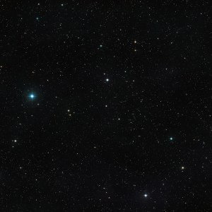 This picture shows the sky around the unusual double star V471 Tauri. The object itself is visible as an unremarkable looking star of moderate brightness at the centre of the image. This picture was created from images in the Digitized Sky Survey 2. Source: ESO