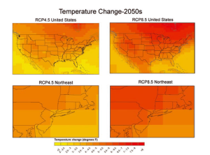 Map of annual temperature changes in the Northeast in 2050. Image Credit: NPCC, 2015
