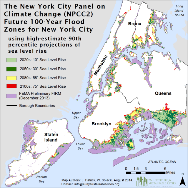 Future 100-year flood zones for New York City based on the high-estimate 90th percentile NPCC2 sea level rise scenario. Image Credit: NPCC, 2015