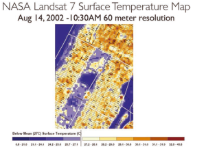 NASA LANDSAT surface temperature map of mid-town Manhattan with Central Park in the center. Image Credit: NPCC, 2015