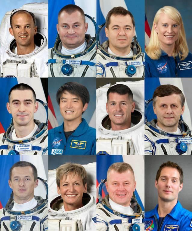 (Top left to bottom right) Expedition 48: Jeff Williams, NASA, Alexey Ovchinin, Russian Federal Space Agency (Roscosmos), and Oleg Skripochka, Roscosmos. Expedition 48/49: Kate Rubins, NASA, Anatoly Ivanishin, Roscosmos, and Takuya Onishi, Japan Aerospace Exploration Agency (JAXA). Expedition 49/50: Shane Kimbrough, NASA, Andrey Borisenko, Roscosmos, and Sergey Ryzhikov, Roscosmos. Expedition 50: Peggy Whitson, NASA, Oleg Novitskiy, Roscosmos, and Thomas Pesquet, European Space Agency. Image Credit: NASA/ESA/JAXA