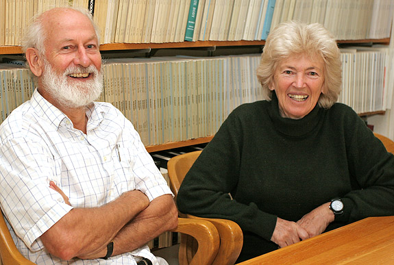 New research from Princeton University and Uppsala University in Sweden reveals a gene associated with beak shape in Darwin's finches in the Galápagos islands. Evolutionary biologists Peter and Rosemary Grant (above) provided DNA samples collected during 40 years of field work on the islands. The team in Uppsala led by Leif Andersson provided the whole-genome sequencing that resulted in detection of the gene. The findings illustrate several aspects of the genetic foundation of evolution. (Photo by Denise Applewhite, Office of Communications, Princeton University)