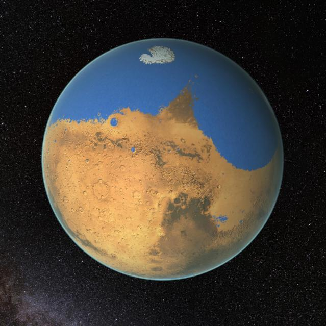 NASA scientists have determined that a primitive ocean on Mars held more water than Earth's Arctic Ocean and that the Red Planet has lost 87 percent of that water to space. Image Credit: NASA/GSFC