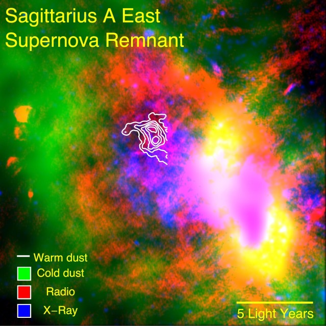 SOFIA data reveal warm dust (white) surviving inside a supernova remnant. The SNR Sgr A East cloud is traced in X-rays (blue). Radio emission (red) shows expanding shock waves colliding with surrounding interstellar clouds (green). Image Credit: NASA/CXO/Herschel/VLA/Lau et al