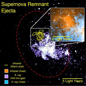 Supernova remnant dust detected by SOFIA (yellow) survives away from the hottest X-ray gas (purple). The red ellipse outlines the supernova shock wave. The inset shows a magnified image of the dust (orange) and gas emission (cyan). Image Credit: NASA/CXO/Lau et al
