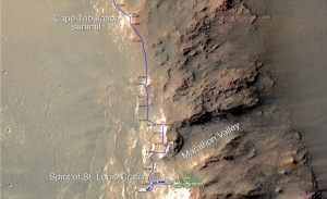 This map shows the southward path driven by Opportunity from late December 2014 until it passed marathon distance on March 24, 2015, during the 3,968th Martian day, or sol, of the rover's work on Mars. Image Credit: NASA/JPL-Caltech/Univ. of Arizona