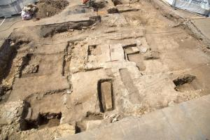 This is The Greyfriars archaeological dig July 2013. Credit: University of Leicester, UK