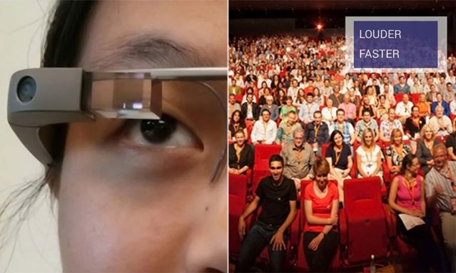 On the left, a speaker wears Google Glass, and on the right, the view of the audience from the speaker's perspective with the real-time feedback provided by the Rhema system. (photo credit: M. Iftekhar Tanveer, et al)