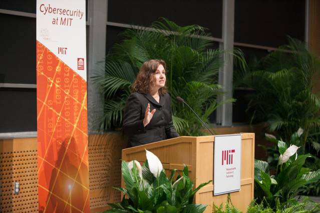 CSAIL Director Daniela Rus highlighted her lab's role developing time-sharing and data encryption. Photo: Jason Dorfman/CSAIL
