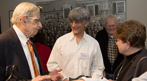 "David Gabai (center), the Hughes-Rogers Professor of Mathematics and department chair, said that he feels a ""special connection"" to Nash from his years as a Princeton graduate student in the 1970s when Nash was a regular feature of the department commons room. At right is Nash's wife, Alicia. Credit: Princeton University"