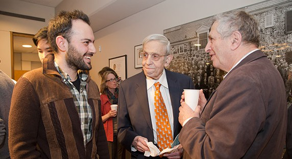 Nash (center) is the second consecutive Princeton researcher to receive the Abel Prize. Yakov Sinai (right), a Princeton professor of mathematics, was awarded the 2014 Abel Prize for his influential 50-year career in mathematics. At 86, Nash continues to inspire and work with younger researchers such as Michail Rassias (left), a Princeton visiting postdoctoral research associate in mathematics who is working on an upcoming book with Nash. (Photos by Danielle Alio, Office of Communications) Credit: Princeton University