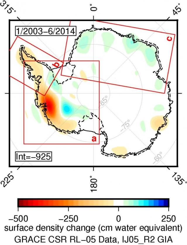 """Princeton University researchers """"weighed"""" Antarctica's ice sheet using gravitational satellite data and found that from 2003 to 2014, the ice sheet lost 92 billion tons of ice per year. Credit: Image by Christopher Harig, Department of Geosciences"""