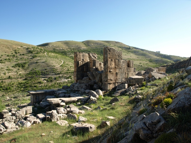 The standing remains of the large 2nd century CE Graeco-Roman temple at Hosn Niha, unchanged since first recorded in the early 19th century CE. The walls still stand to a height of 10 metres. Credit: University of Leicester/ American University of Beirut