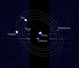 """The Pluto system as we know it today. Four small moons--Styx, Nix, Kerberos and Hydra, orbit the central """"binary planet"""" comprising Pluto and its large, nearby moon Charon. Credits: NASA/STScI/Showalter"""