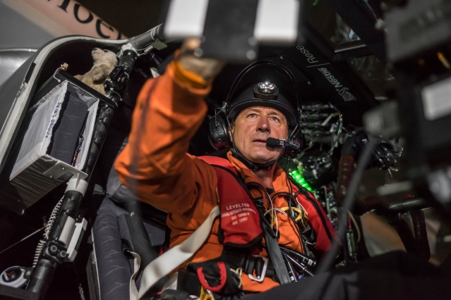 Nagoya, Japan, June 28, 2015: Solar Impusle 2 takes-off from Nagoya with André Borschberg at the controls. The First Round-the-World Solar Flight will take 500 flight hours and cover 35'000 km, over five months. Swiss founders and pilots, Bertrand Piccard and André Borschberg hope to demonstrate how pioneering spirit, innovation and clean technologies can change the world. The duo will take turns flying Solar Impulse 2, changing at each stop and will fly over the Arabian Sea, to India, to Myanmar, to China, across the Pacific Ocean, to the United States, over the Atlantic Ocean to Southern Europe or Northern Africa before finishing the journey by returning to the initial departure point. Landings will be made every few days to switch pilots and organize public events for governments, schools and universities. © Solar Impulse   Revillard   Rezo.ch