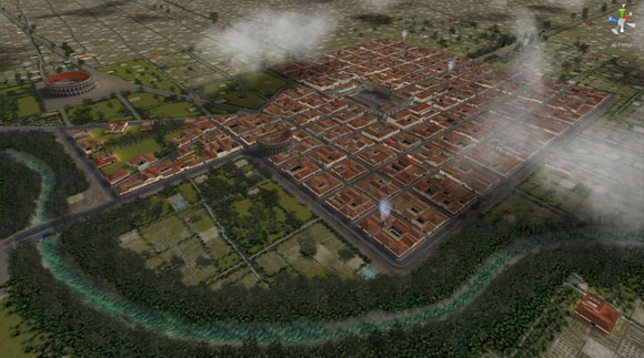 A virtual bird's eye view of Reggio Emilia during the Roman Empire. Credit: Duke University