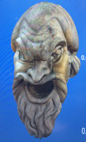 A statue head from the virtual 3D museum Credit: Duke University