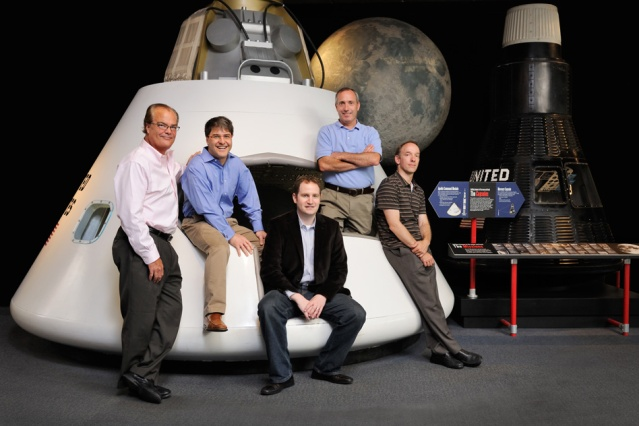 The DataXu founding team: (from left) Bruce Journey, Sandro Catanzaro, Bill Simmons, Gerard Keating (executive vice president of products and an early team member), and Mike Baker. Credit: MIT