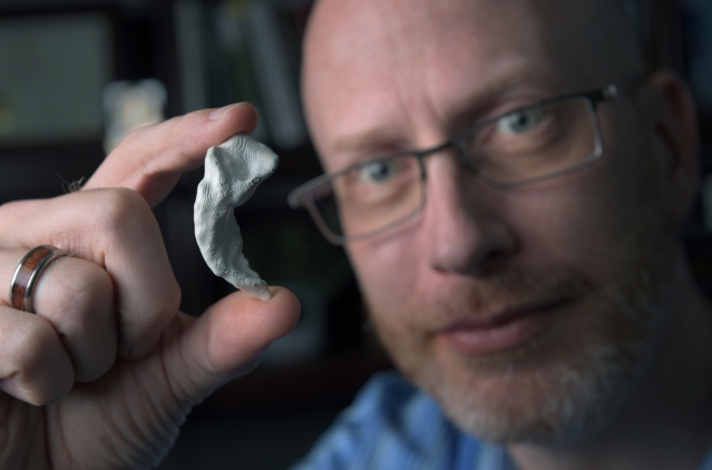 "UCI professor of neurobiology & behavior Craig Stark, here holding a 3-D-printed model of his own hippocampus, says that ""video games may be a nice, viable route"" to maintaining cognitive health. Steve Zylius / UCI"